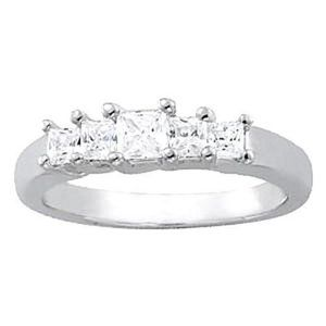 0.34 Carat Diamond Engagement Band Princess White